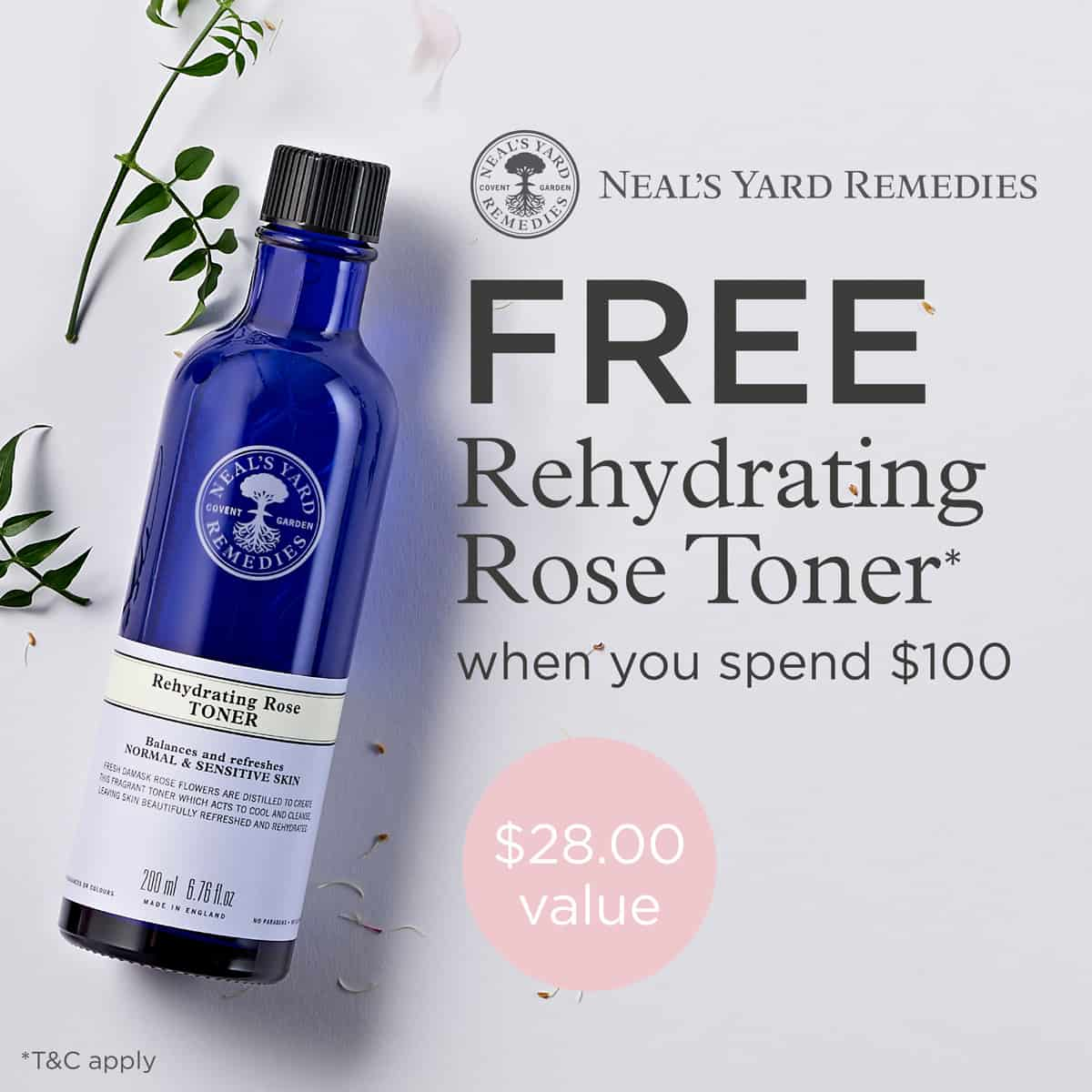 FREE organic rose toner with $100 purchase. Fabulous organic skincare from Neal's Yard Remedies