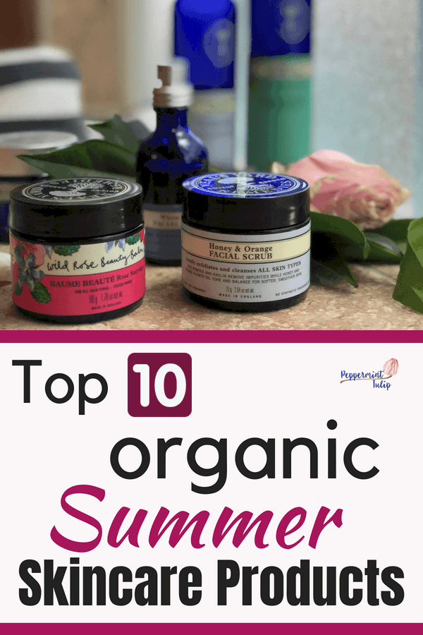 Top ten Organic Summer Skincare products featuring products from Neal's Yard Remedies. Check out the facial mist and Wild Rose Beauty Balm for sure! A blog post by Peppermint Tulip. #summerskin #summerskincare #organicskincare #nealsyardremedies