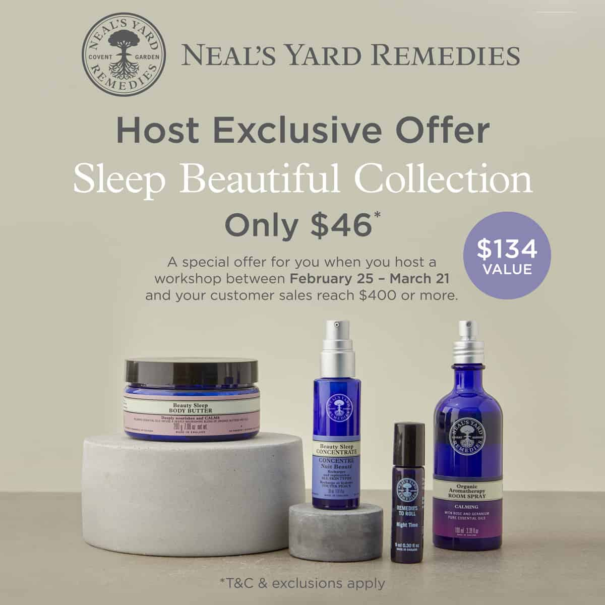 Sleep Beautiful Collection - Hostess Exclusive - March 2019. NYR Organic products.