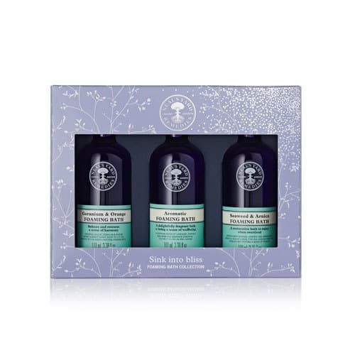 Three lovely foaming baths from Neal's Yard Remedies. Check out more organic skincare gift ideas in the full post. #organicskincare #organic #essentialoils