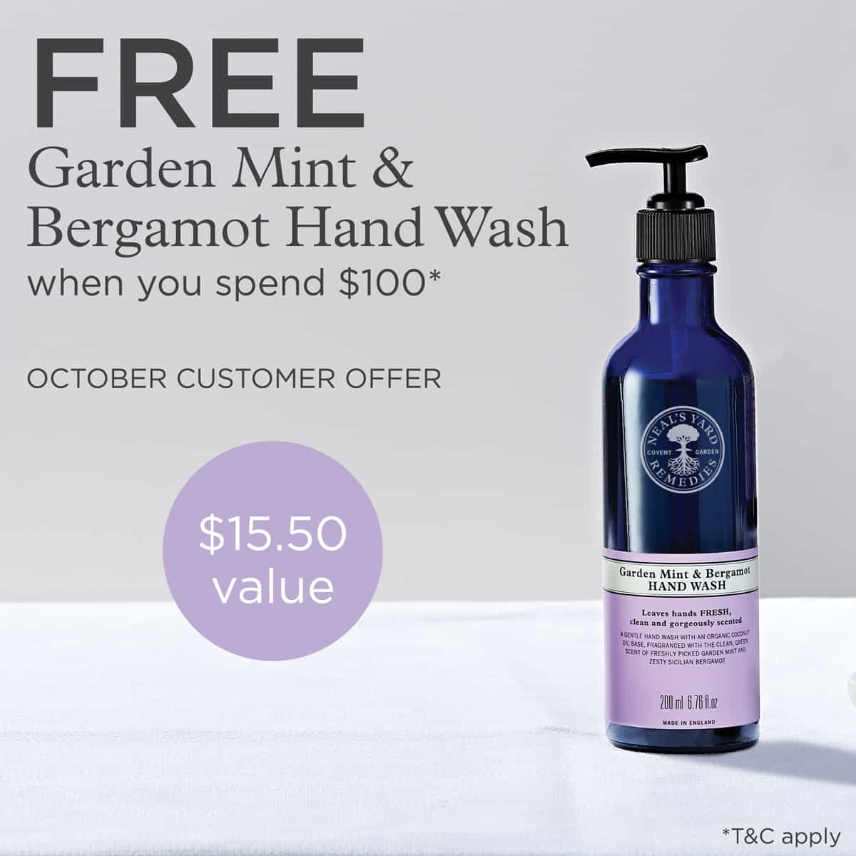 NYR Organic October Specials - What a luxurious hand wash made with organic essential oils. The October gift with purchase from Neal's Yard Remedies. Contact me to order!