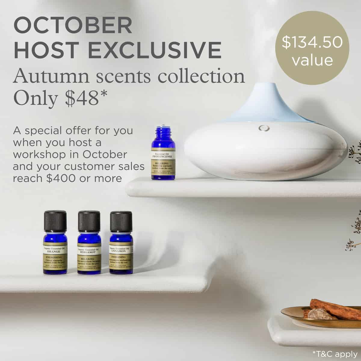 NYR Organic October Specials - This host exclusive is awesome! Organic essential oils and a diffuser at 65% off!