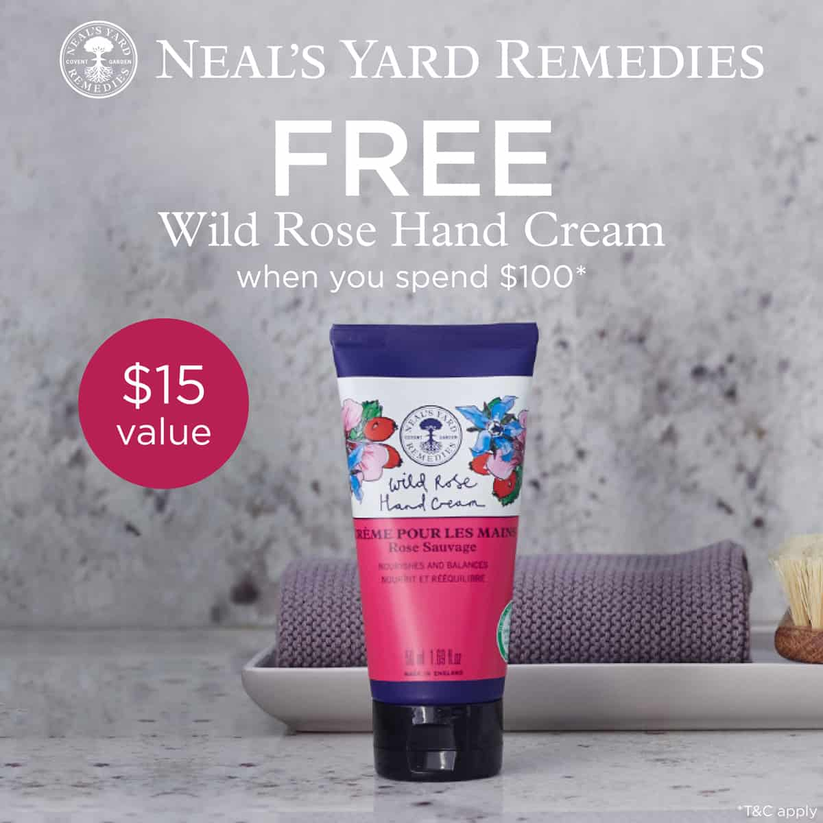 FREE WIld Rose Hand Cream with $100 purchase of Neal's Yard Remedies products. A great December Special