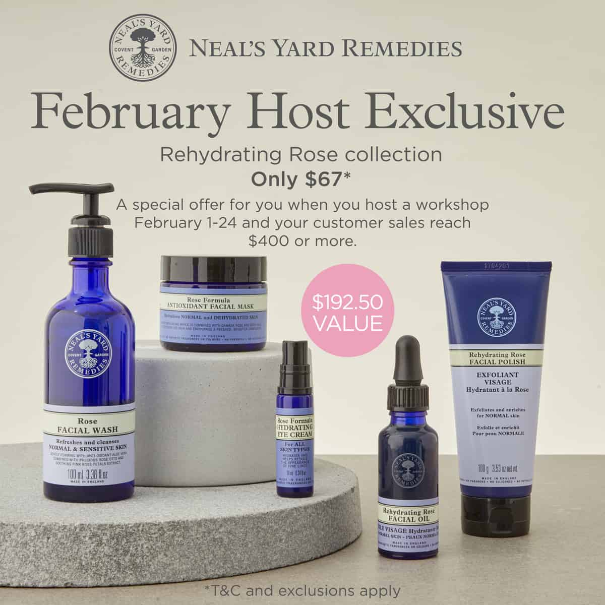 NYR Organic February Host Exclusive. Get these rose organic skincare items for just $67 this month! (February 2019) Contact me at pepperminttulip.com to host!