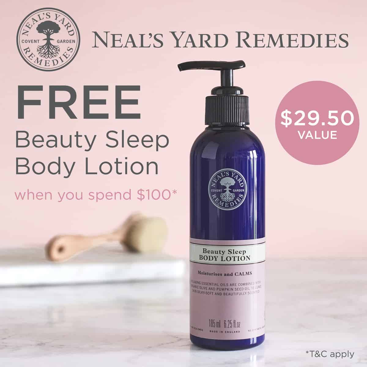 nyr organic beauty sleep body lotion free with $100 purchase in march 2019.
